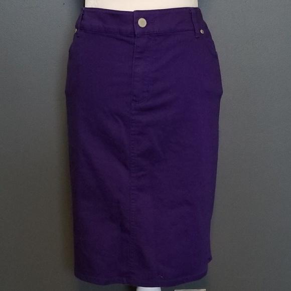 efae7ce164 Chico's Skirts | Chicos Purple Jean Skirt Size 12 Nwt | Poshmark
